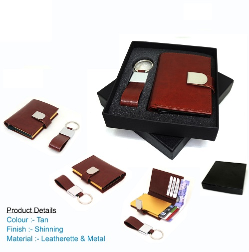Leather Visiting Card Holder Pen Combo