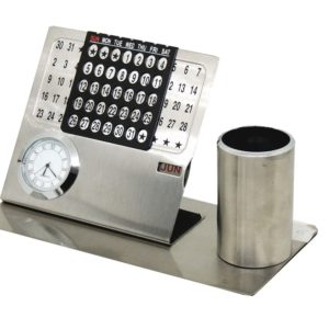 Metal Calendar with Penstand and Clock